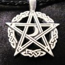 WICCAN CELTIC WOVEN 5 POINT PENTACLE STAR w CRESCENT MOON PEWTER PENDANT NECKLACE