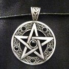 WICCA PENTACLE STAR w BLACK CRYSTALS PEWTER PENDANT NECKLACE XL BAIL