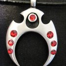 MAORI TRIBAL ART SYMBOL w RED CRYSTALS PEWTER PENDANT NECKLACE
