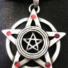 DOUBLE PENTACLE STAR & RINGS w RED CRYSTAL POINTS WICCA PEWTER PENDANT NECKLACE