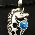 FANTASY TRIBAL UNICORN w BLUE SWIRL INLAY PEWTER PENDANT ADJ NECKLACE
