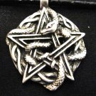 WICCA PENTACLE STAR SERPENT SNAKE WEAVE PEWTER PENDANT NECKLACE