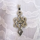INFINITE LUCKY CELTIC KNOT 3 LEAF IRISH CLOVER CENTER USA PEWTER PENDANT ADJ NECKLACE