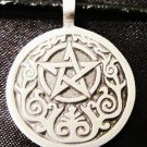 WICCA CELTIC PENTACLE STAR w NATURE SCROLL DETAIL PEWTER PENDANT NECKLACE