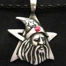 WILD WIZARD FACE ON STAR w RED INLAY PEWTER PENDANT NECKLACE