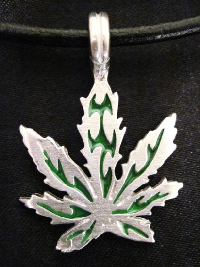 GREEN INLAY POT LEAF NATURE PEWTER PENDANT NECKLACE