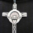 IRISH CLADDAGH CROSS - CROWN HEART HANDS PEWTER PENDANT NECKLACE
