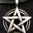 WICCA WOVEN PENTACLE STAR w RING PEWTER PENDANT NECKLACE