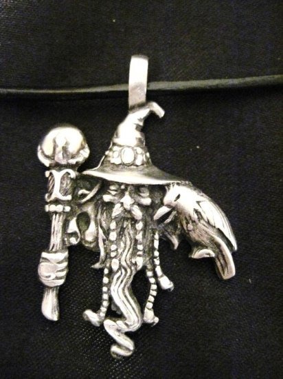 WILD WIZARD w ORB STAFF & RAVEN MYSTICAL PEWTER PENDANT NECKLACE