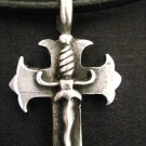 WILD CROSS WITH DAGGER CENTER PEWTER PENDANT NECKLACE
