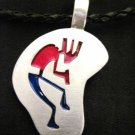 COLOR TRIBAL KOKOPELLI FLUTE PLAYER ABSTRACT SHAPE PEWTER PENDANT ADJ STRING NECKLACE