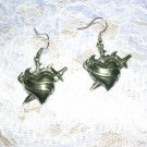 NEW FULL SIZE PENDANT FLAMING HEART TATTOO STYLE DROP DANGLE EARRINGS JEWELRY