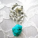 HAND ENGRAVED REARING HORSE STALLION PEWTER PENDANT w TURQUOISE GEM NUGGET NECKLACE PONY