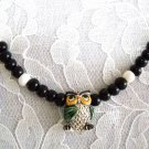 HAND PAINTED 3D HOOT OWL CERAMIC PENDANT w BLACK & WHITE ACCENT BEADS ADJ NECKLACE