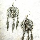 USA CAST VINTAGE PEWTER FULL BODY WOLF DREAM CATCHER w 3 FEATHERS DANGLING EARRINGS JEWELRY