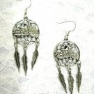 USA RIDER CAST PEWTER FAT BOY MOTORCYCLE DREAM CATCHER LONG DANGLING EARRINGS JEWELRY