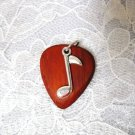 HAND MADE PADAUK HARDWOOD GUITAR PICK w MUSIC NOTE CHARM PENDANT NECKLACE