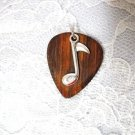 REAL BUBINGA WOODEN GUITAR PICK w MUSIC NOTE CHARM PENDANT NECKLACE