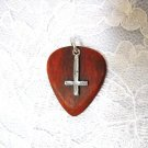 BLOODWOOD GUITAR PICK w INVERTED SATANIC PEWTER CHARM PENDANT NECKLACE