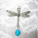 ENGRAVED DRAGONFLY w TURQUOISE GEM NUGGET PEWTER PENDANT NECKLACE