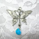 HAND ENGRAVED BUTTERFLY & BLUE TURQUOISE GEM NUGGET PEWTER PENDANT NECKLACE