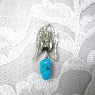 HAND ENGRAVED GUARDIAN ANGEL & BLUE TURQUOISE GEM NUGGET PEWTER PENDANT NECKLACE