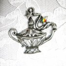 MAGIC CRYSTAL 3 WISHES GENIE LAMP / JEANIE LAMP USA CAST PEWTER PENDANT ADJ NECKLACE
