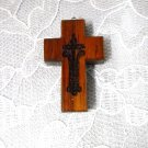 CUSTOM KOA WOOD CROSS PENDANT w CROSS ENGRAVED DESIGN PENDANT NECKLACE