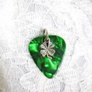 DARK GREEN GUITAR PICK WITH A LUCKY 4 LEAF CLOVER CHARM PENDANT ADJ NECKLACE