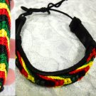 BLACK LEATHER w RASTA COLOR WEAVE 6 - 12 INCH ADJUSTABLE BRACELET OR ANKLET