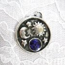 OUTER SPACE CELESTIAL BODIES - SUN & MOON w PURPLE PLANET & STARS PEWTER PENDANT NECKLACE