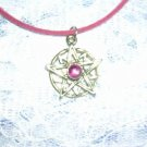 "NEW SUN STAR - STAR BURST w PINK GEM PEWTER PENDANT 20"" PINK NECKLACE"