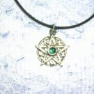NEW SUN STAR / STAR BURST w EMERALD GREEN GEM PEWTER PENDANT ADJ NECKLACE