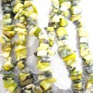 35 INCH GREEN TURQUOISE GEMSTONE CHIP STRAND BROWNS & RUSTY