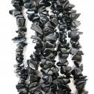 JET BLACK ONYX GEMSTONE CHIP NUGGET STRAND 35""