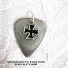 RIDER PEWTER GUITAR PICK & MALTESE IRON CROSS CHARM DOUBLE PENDANT ADJ NECKLACE