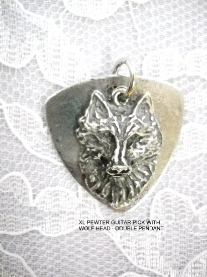 CAST PEWTER BASS GUITAR PICK & SPIRIT WOLF HEAD DOUBLE HAND CAST PENDANT NECKLACE