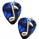 RICH DEEP BLUE REAL GUITAR PICKS w MUSIC NOTE CHARM MUSICAL EARRINGS