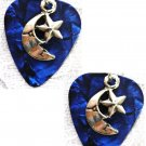 DEEP BLUE GUITAR PICK w NEW CRESCENT MOON & STAR PEWTER CHARM EARRINGS