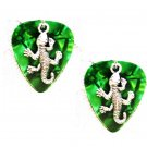 DEEP GREEN GUITAR PICK w GECKO / LIZARD CHARM EARRINGS