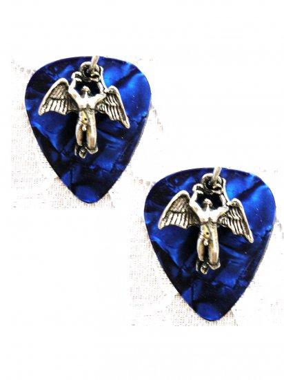 DEEP BLUE GUITAR PICK w SWAN SONG CELTIC ANGEL PEWTER CHARM EARRINGS