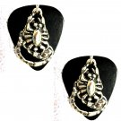 REAL JET BLACK GUITAR PICK w SCORPIONS PEWTER CHARMS PAIR EARRINGS SCORPION