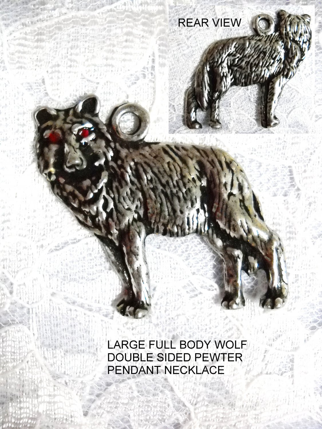 XL FULL BODY 2 SIDED NORTH AMERICAN GRAY WOLF ANIMAL USA PEWTER PENDANT NECKLACE