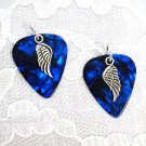 DEEP BLUE GUITAR PICKS w ANGEL WING CHARM EARRINGS