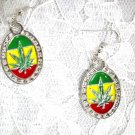NEW RASTA COLOR POT LEAF OVAL SILVETONE WEED REGGAE DANGLING EARRINGS