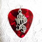 NEW DEEP RED GUITAR PICK w OPEN ROSE FLOWER CHARM PENDANT ON ADJ CORD NECKLACE