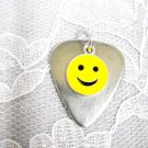 PEWTER GUITAR PICK & CLASSIC SMILEY FACE - HAVE A NICE DAY DOUBLE PENDANT NECKLACE