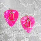 HOT PINK GUITAR PICKS w SHAPED SWEETHEART HEART CHARM EARRINGS