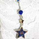 NEW 14G DOUBLE STAR w DEEP BLUE CZ NAVEL BAR BELLY BUTTON RING BODY JEWELRY