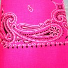 CLASSIC PAISLEY SUPER HOT BRIGHT NEON PINK BANDANA HEAD WRAP SCARF